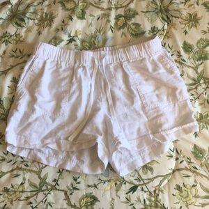 Crown & Ivy White Linen Shorts